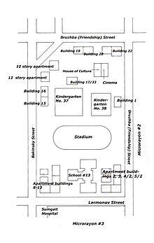 Mappa degli scontri a Sumgait. Da wikipedia