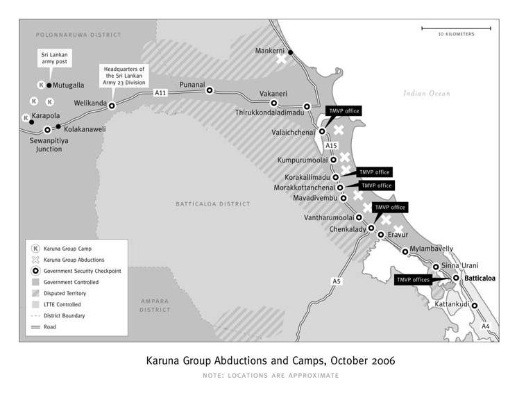 Localizzazione dei campi di addestramento del gruppo Karuna, in Sri Lanka. Foto da Human Rights Watch