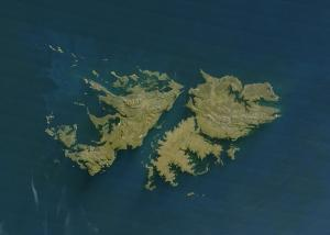 Le isole Falkland viste dal satellite. Foto Wikipedia