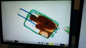 L'immagine ai raggi x del piccolo Abou all'interno del trolley. Foto Reuters