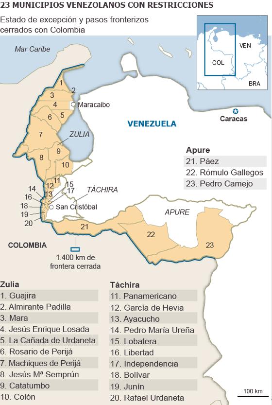 Mappa che illustra la situazione al confine tra Venezuela e Colombia. Immagine da iljournal.today