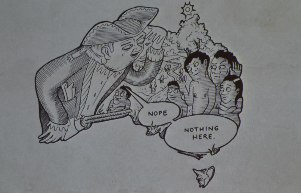Terra nullius. Foto scattata durante l'incontro di Ferrara. Disegni di Sam Walmann