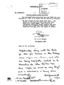 """Un telegramma inviato dall'ufficiale di colonia inglese Denis Greenhill in cui si descrivono gli abitanti di Chagos come """"Tarzan"""""""