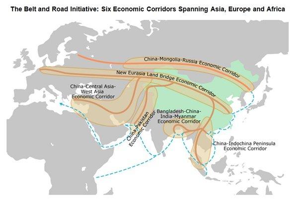 I corridoi economici principali. fonte HKTDC Research